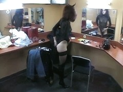 Brunette in high boots