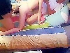 Amateur college blonde hooks up with two guys