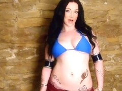Busty Cosplay stuffs her pale pussy