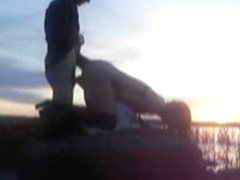 I bang my babe during sunset on the lake