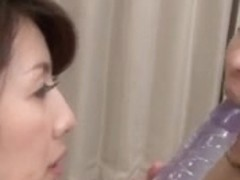 Japanese lesbian MILFs share a toy