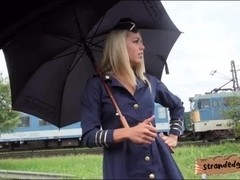 Flight stewardess pussy fucked at the back of the wheels