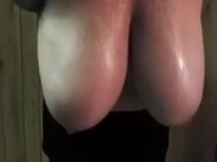 My wife pulls out and swings her enormous oiled up titties