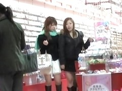 Asian babes get a skirt sharking coming from the mall.