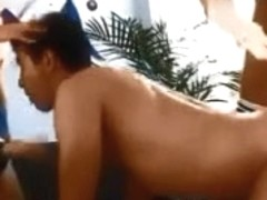 two Females Use A Thong On In His A-Hole