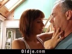 Acrobatic practice leads to old and young fuck
