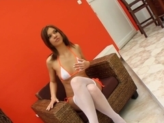 Give Me Pink Hot brunette is horny one riding a dildo and cumming.