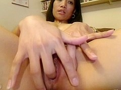 White cum oozes out of Asian pussy
