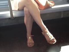 Candid double crossed legs and feet