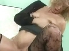 Granny in stockings slammed in the fanny