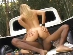 Dazzling blonde hitchhiker has the black driver hammering her holes