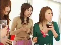 Japanese girls having wine