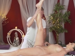 Stretched babe fucked after massage