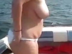 chubby woman takes a load on a boat