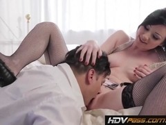 Small tits brunette Veruca James sucks and rides cock to orgasm