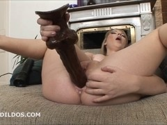 Blond bonks her wet crack and wazoo with 2 large dildos in HD