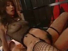 japanese angel in fishnet receives drilled in a cell