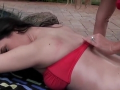 Brianna Ray and Charlotte Davis gets wet by pool