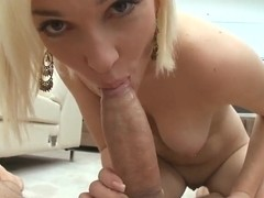 Blonde with natural boobs Lily LaBeau sucks and rides a dick in the pov scene