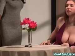 Tattooed babe with big tits gets facial