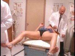 Sexy patient receives her wet crack and a-hole checked by hung doctors