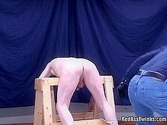 Bound gay dude gets fucked and spanked