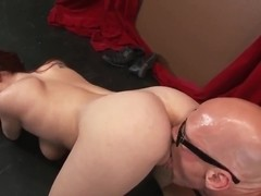 Cute ginger chick in sexy glasses Ashley Graham is pleasing her fucker Johnny Sins with hot tit an.