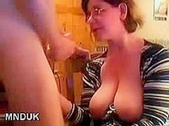 Big Tits Brunette Wife Eats A Load