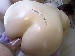 Slippery Brunette Anal Sex with Big Cock