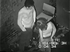 Security guy tapes a partyslut fucking a guy in an alley