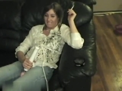 Using hitachi and blowing his dick