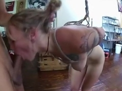 Tied up fuck serf gets creampied by her master