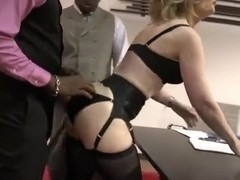 Busty mature Nina Hartley gets hared by black guys