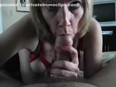 Amateur blonde with big boobs sucks my love hammer