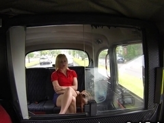 Natural blonde banged in fake taxi
