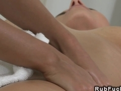 Blonde massages sexy body and pussy