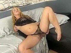 Hot and Wet Hairy Woman Enjoys Herself with Sextoys
