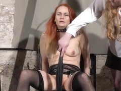 Dirty Mary lesbian pussy whipping and amateur bdsm of play piercing redhead ### girl in erotic dom.