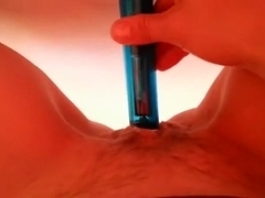 I love to stuff my shaved pussy with my small dildo