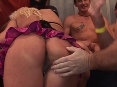 boobs covered with cum at the gangbang orgy