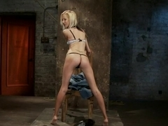 Tiny Southern Belle hung upside down, clamped, flogged, her huge nipples tortured, made to cum har.