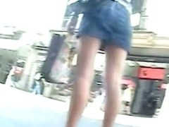 Sexy white panties exposed in open leg upskirt video