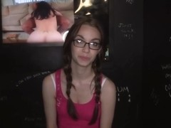Sweet innocent girl visit the booth