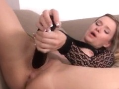 Weird toy in her spread vagina pussy