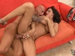 Tall brunette MILF with big tits fucked