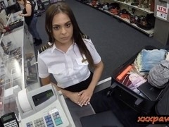 Latina stewardess pawns her pussy and fucked in the toilet