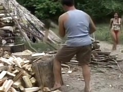 Hung Stud Splits Wood And Teen's Pussy
