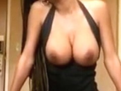 Swarthy breasty sweetheart Monique rides large toy