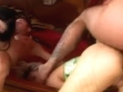 Lovely babes suffer wicked anal during a group sex