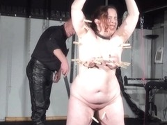 Intimate dungeon castigation to tears of obese non-professional slaveslut